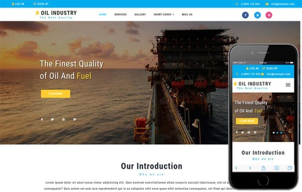 Oil Industry an Industrial Category Bootstrap Responsive Web Template