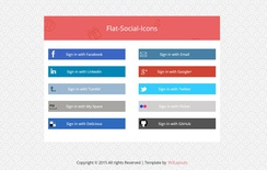Flat Social Media Icons Widget Template
