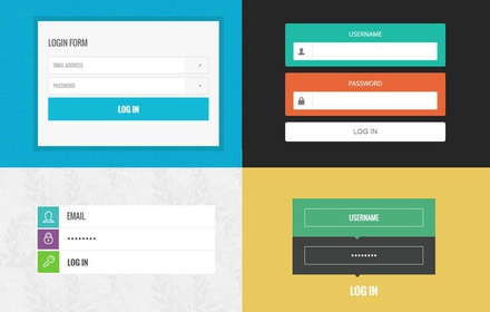 10 Trendy Login Forms in Flat Design Template