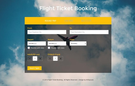 Flight Ticket Booking a Flat Responsive Widget Template
