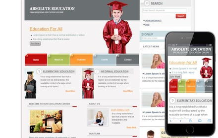 Free Education Web template and mobile website template for schools and colleges