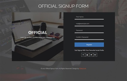 Official Signup Form Flat Responsive Widget Template