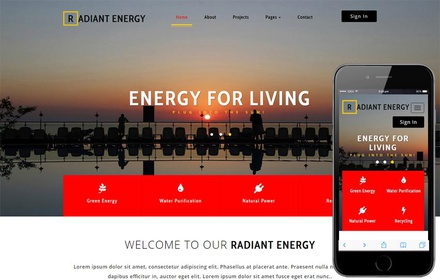 Radiant Energy an Industrial Category Bootstrap Responsive Web Template