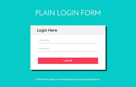 Plain Login Form a Flat Responsive Widget Template