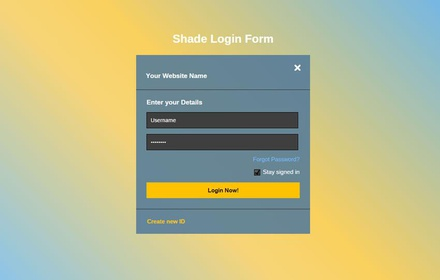 Shade Login Form Responsive Widget Template