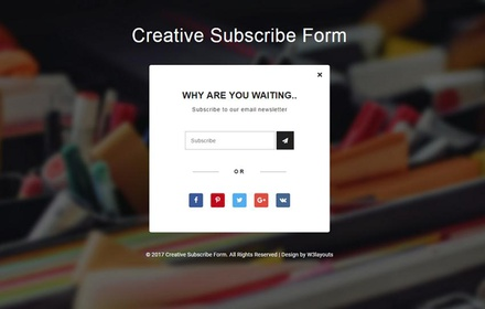 Creative Subscribe Form Flat Responsive Widget Template