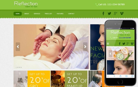 Reflection Beauty Parlour Mobile Website Template