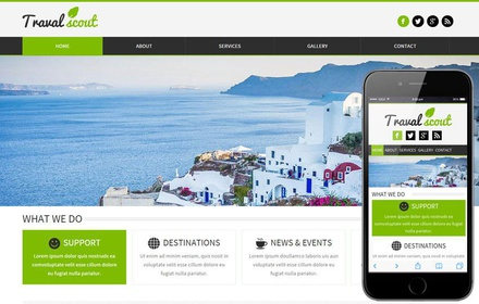 Travel Scout a travel guide Mobile Website Template