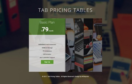 Tab Pricing Tables Responsive Widget Template