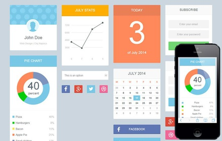 Soft Flat UI KIT Responsive mobile web template