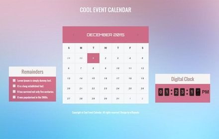 Cool Event Calendar Responsive Widget Template