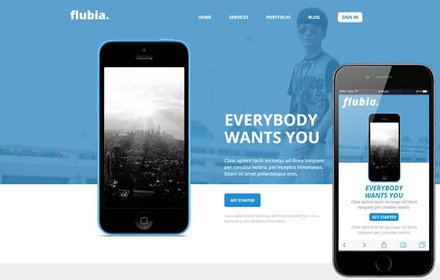 Flubia a Mobile App based Flat Bootstrap Responsive web template