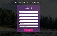 Flat Sign Up Form Responsive Widget Template