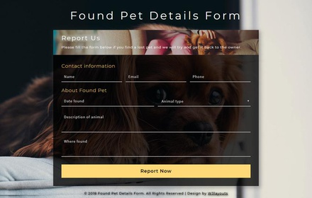 Found Pet Details Form a Responsive Widget Template