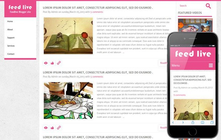 Feedlive Blogging Mobile Website Template