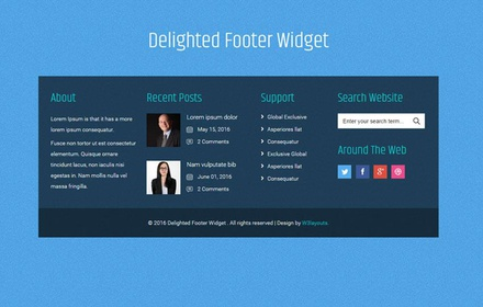 Delighted Footer Widget Flat Responsive Widget Template