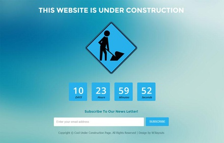 Cool Under Construction Page Flat Responsive Web Template