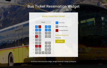 Bus Ticket Reservation Widget Flat Responsive Widget Template